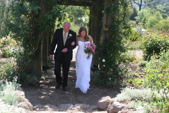 Bride And Father Processional. Wedding, UC Berkeley Botanical Gardens