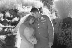 Bride and groom snuggle against each other. Infrared photography. Black and white. Wedding portrait. heather Farms, Walnut creek California