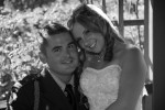 Bride sits on grooms lap black and white photo wedding formal portrait heather farms walnut creek california