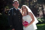bride and groom, bac lit by sun, laugh in meadow wedding formal photo from heather farms in walnut creek california
