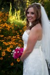 portrait of bride in front of flowers heather farms walnut creek