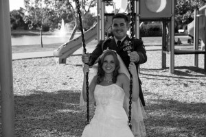 groom pushes bride on swing, playground, wedding formals, heather farms, walnut creek California