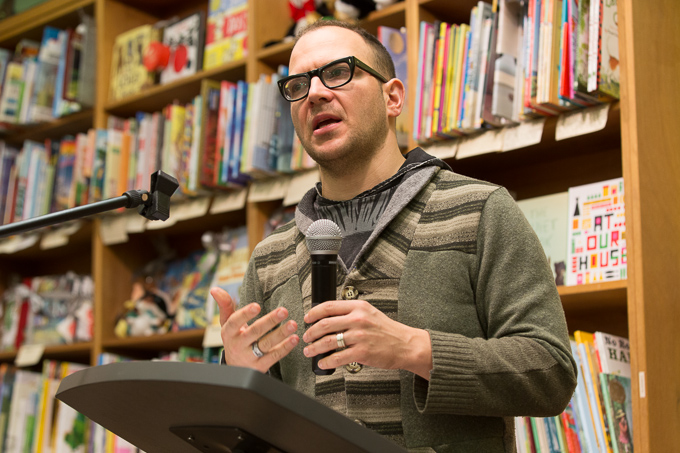 19 39 05IMG 3650 proof Author Cory Doctorow speaking at The Booksmith in San Francisco