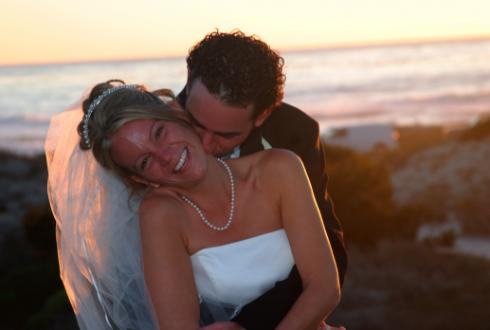 Wedding photos from Asilomar beach and Asilomar Conference Center in Pacific Grove, CA 2004